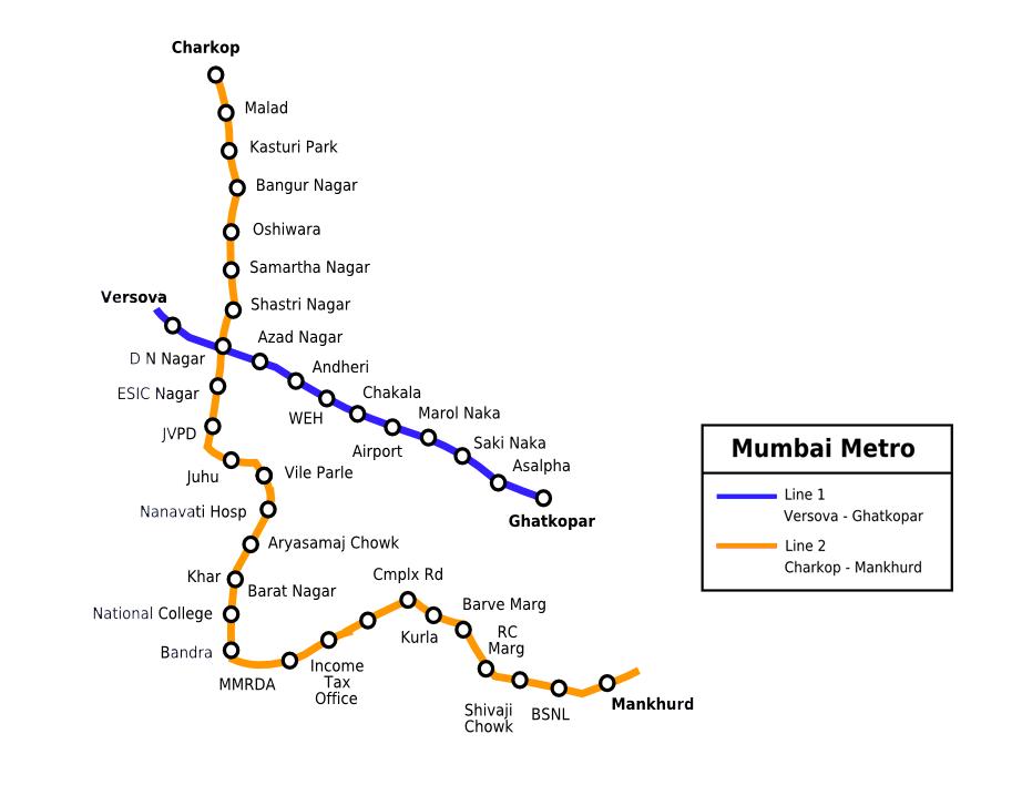 Mumbai Subway Map.Mumbai Metro Rail Map And Route Details Mumbai Metro Map Line 1